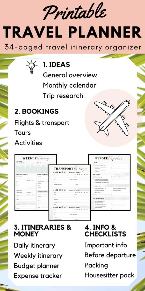 Get organized for your next vacation. Use this printable travel planner to keep all of your trip research, bookings, itinerary and checklists in one easy to access place. This travel organizer is perfect for your trip budget, planning your itinerary, comparing the best prices for accommodation, transport and tours, alleviating stress with checklists for pre-departure and packing, tracking expenses, and much more! #triptemplate #travelessentials #travelplanner