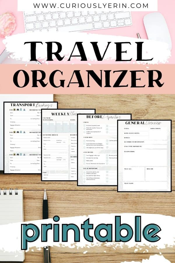 Stay organized on your next vacation. Use this printable travel planner to keep all of your trip research, bookings, itinerary and checklists in one easy to access place. This travel organizer is perfect for your trip budget, planning your itinerary, comparing the best prices for accommodation, transport and tours, alleviating stress with checklists for pre-departure and packing, tracking expenses, and much more! #triptemplate #travelessentials #travelplanner