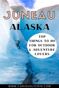 Make sure you see these top places when visiting Juneau, Alaska. These are the top things to do in Juneau whether you are visiting on a cruise or have a whole week to explore. In this post you will find what to do in Juneau, Alaska from discovering the Mendenhall Ice Caves, hiking Mount Juneau, where to eat Alaskan king crab and the best Juneau excursions and tours. #juneaualaskaexcursions #alaskatravel #juneaualaskathingstodo #juneauhiking