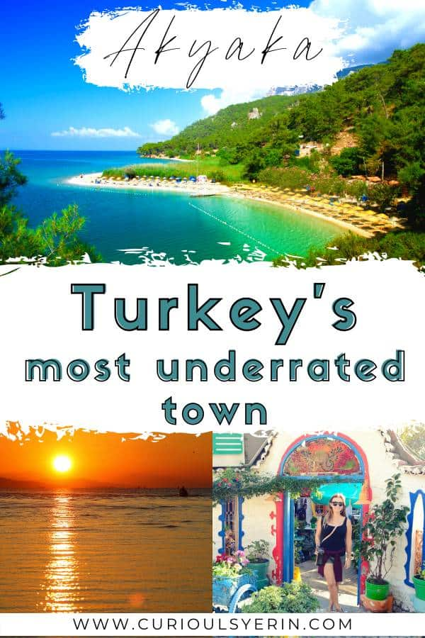of Turkey. Often overshadowed by its neighbours Bodrum and Marmaris this is one quaint beach town you cannot miss when visiting Turkey. The top things to do in Akyaka consist of discovering hidden beach coves, wandering along the tree-lined river and embracing the slow lifestyle the town has vowed to maintain. Discover my 3-day itinerary by clicking on this post. #destinationsturkey #thingstodointurkey #placestovisitturkey