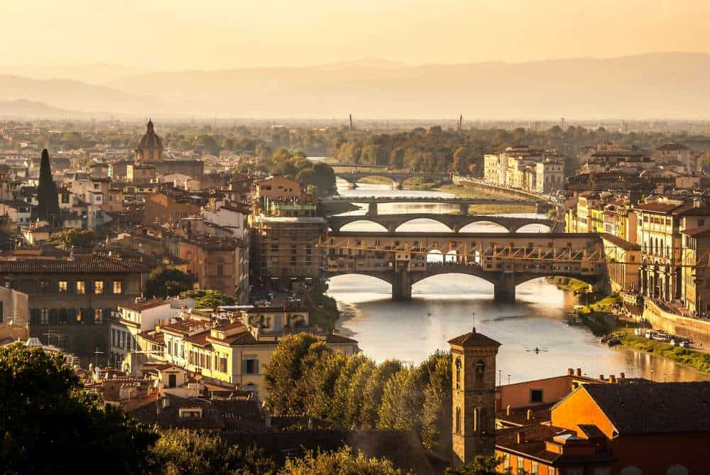 sunset glow over Florence Italy